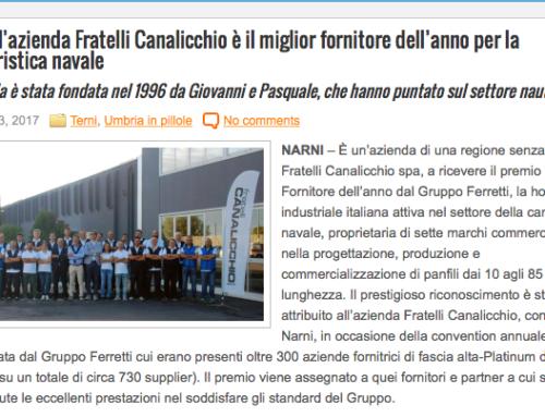 Umbria Domani – Narni, l'azienda Fratelli Canalicchio è il miglior fornitore dell'anno per la cantieristica navale