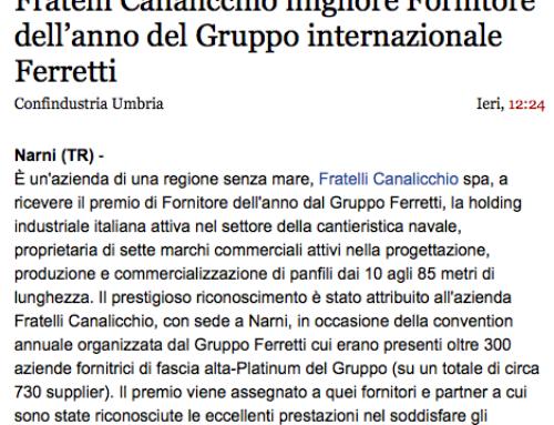 UmbriaOnline – Fratelli Canalicchio migliore Fornitore dell'anno del Gruppo internazionale Ferretti